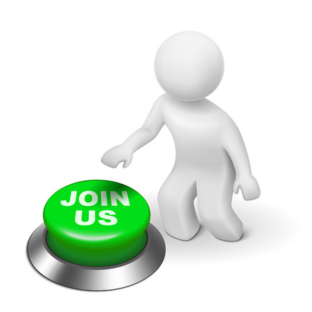 join hand: 3d man is pushing the JOIN US button isolated white background
