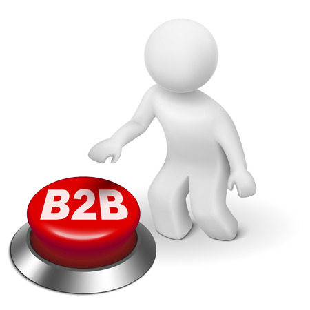 loyalty: 3d man with b2b ( business to business ) button isolated white background Illustration