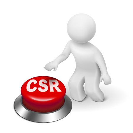 responsabilidad: 3d hombre con csr botón responsabilidad social corporativa fondo blanco aislado