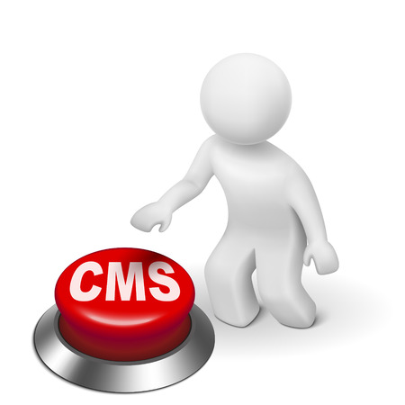 management system: 3d man with cms (content management system) button isolated white background