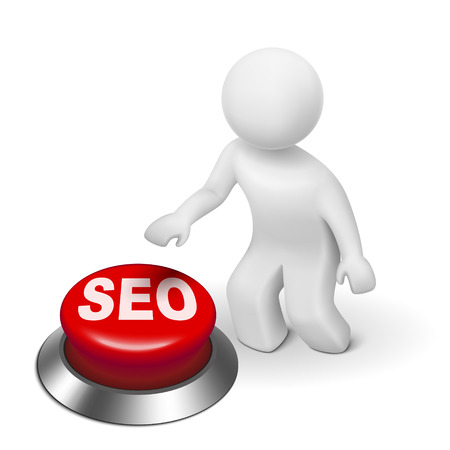 3d man with seo (search engine optimization) button isolated white background Vector