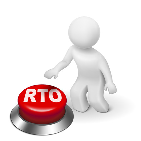 contingency: 3d man with rto recovery time objective button isolated white background