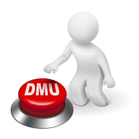 3d man with dmu decision making unit button isolated white background Vector
