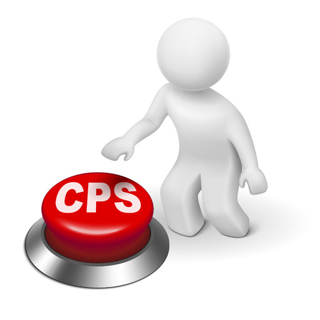 cpl: 3d man with cps cost per sale button isolated white background  Illustration