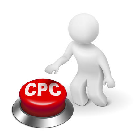 acquiring: 3d man with CPC ( Cost Per Click ) button isolated white background  Illustration