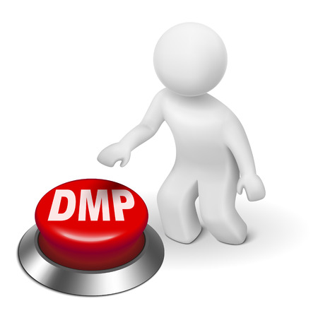 debt management: 3d man with dmp debt management plan button isolated white background