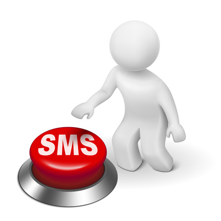 short message service: 3d man with sms ( short message service ) button isolated white background  Illustration