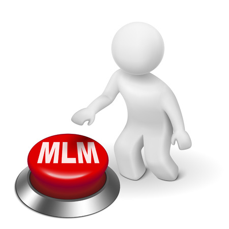 pushbutton: 3d man with MLM ( Multi Level Marketing) button isolated white background Illustration