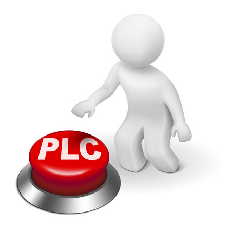 lifecycle: 3d man with PLC ( Product Life cycle ) button isolated white background