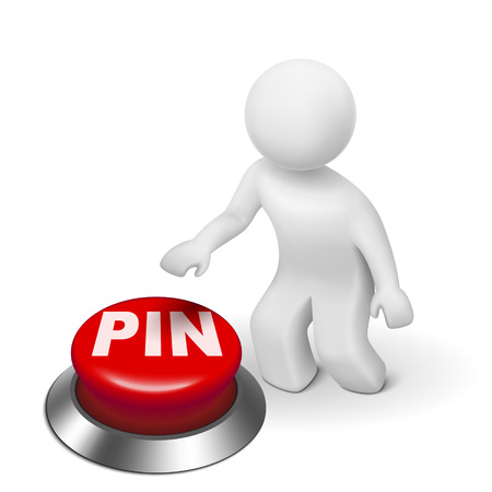 personal identification number: 3d man with PIN ( Personal identification number) button isolated white background