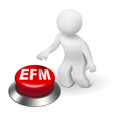 enterprise: 3d man with efm enterprise feedback management button isolated white background