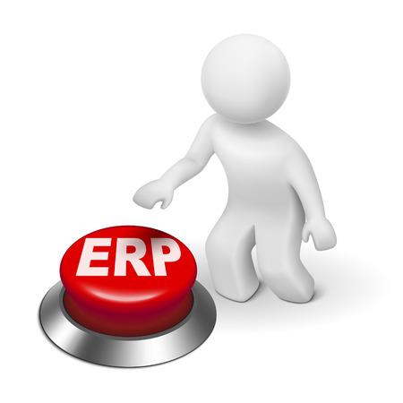 gestion documental: Hombre 3d con el botón Planificación de recursos empresariales ERP aislado fondo blanco