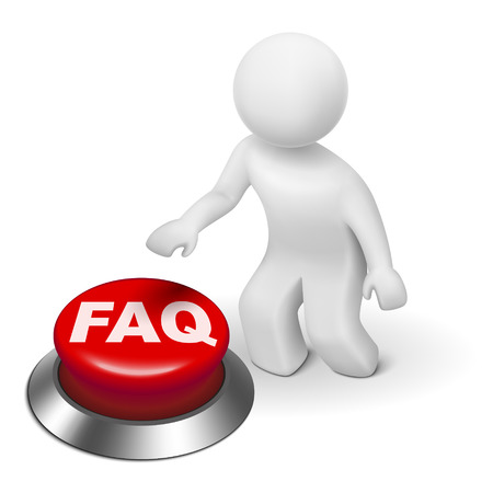 help button: 3d man is pushing the FAQ button isolated white background