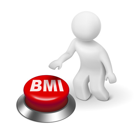 bmi: 3d man with BMI ( Body Mass Index) button isolated white background