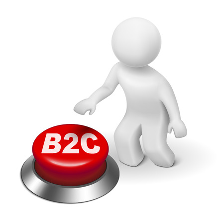 b2c: 3d man with b2c ( business to consumer ) button isolated white background