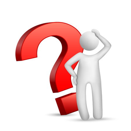 3d man with red question mark over white background Vector