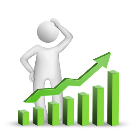 rising graphic: 3d man thinking with a bar chart isolated white background