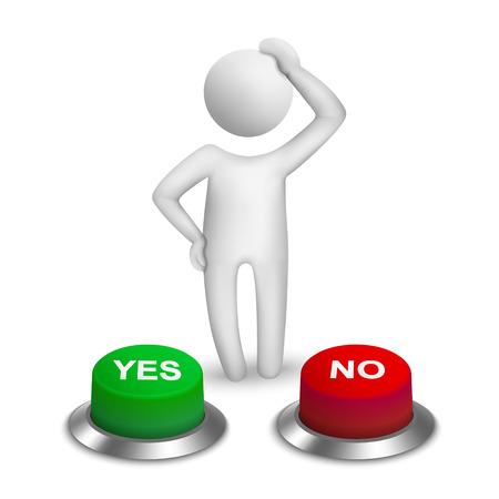3d human character choosing between  yes or  no  Vector