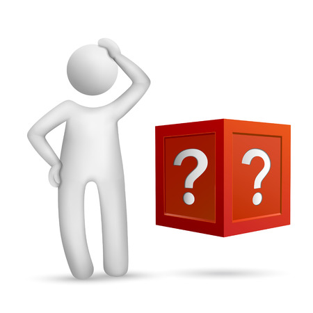 3d people standing in front of the question box isolated white background Vector