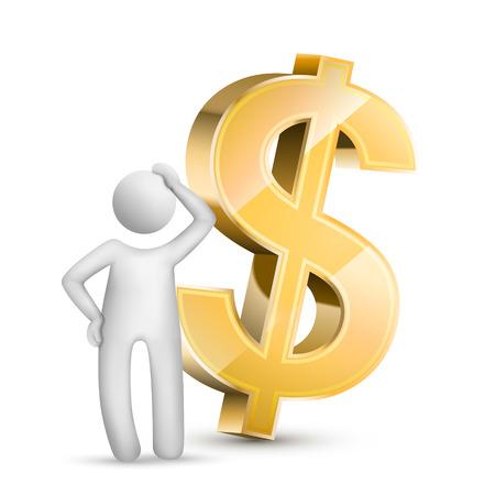 3d man denken met een valuta symbool geïsoleerde witte achtergrond Stock Illustratie