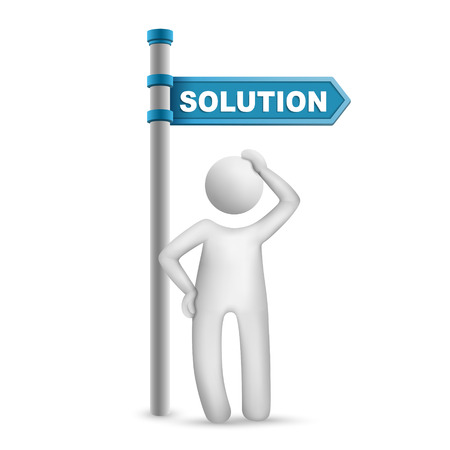 directional: 3d man thinking with directional sign and word Solution isolated white background