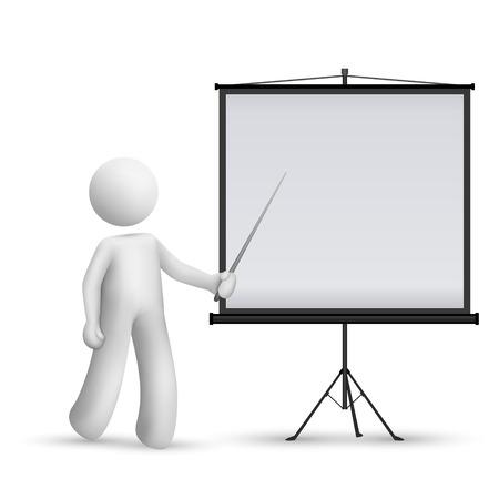 3D man invoering van iets op een projector geïsoleerd witte achtergrond