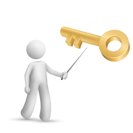 3d person pointing at a golden key isolated white background Vector
