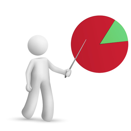 financial figures: 3d man is explaining the pie chart isolated white background Illustration