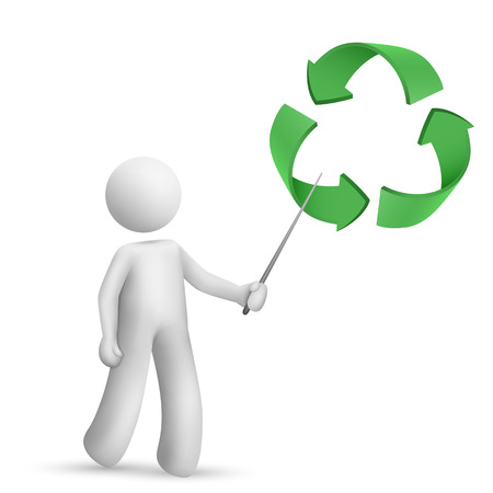 3d man is explaining the recycling symbol isolated white background Vector