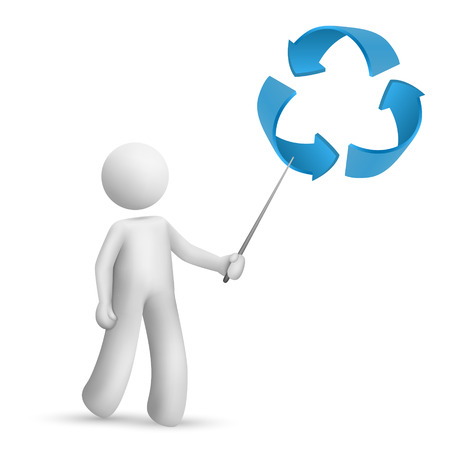 small business woman: 3d man is explaining the recycling symbol isolated white background