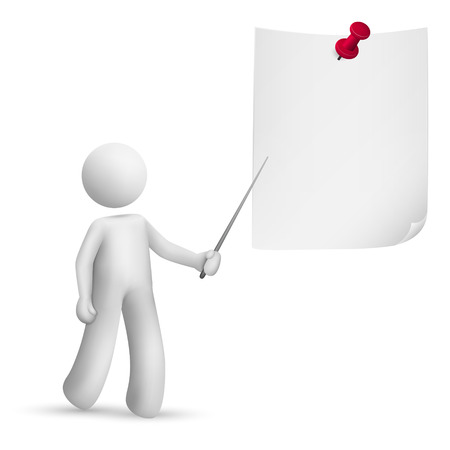 man pointing: 3d man pointing at the note with a stick isolated white background