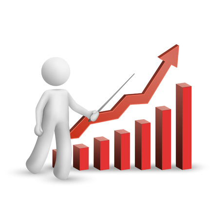 3d manager: 3d man is explaining the bar chart isolated white background
