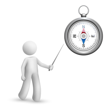 3d person pointing at a compass isolated white background Vector