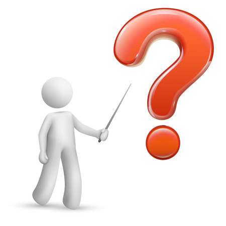 3d person pointing at a big question mark isolated white background