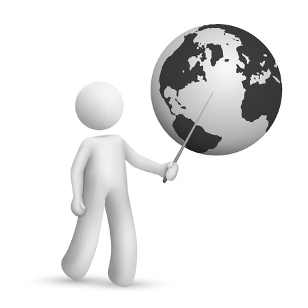 small business woman: 3d man is explaining the earth isolated white background