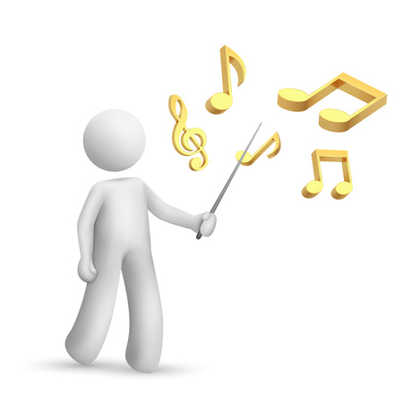 3d person pointing a note symbol isolated white background Vector