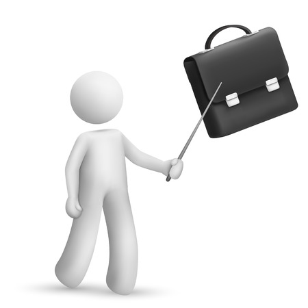 3d person pointing at a briefcase isolated white background Vector
