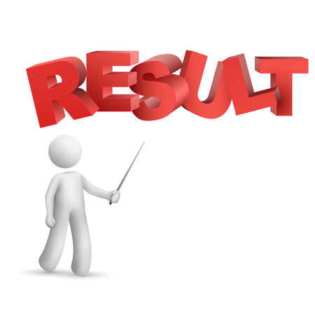 consequence: 3d person pointing at a word result  isolated white background