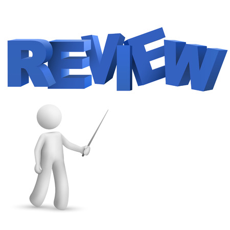 evaluate: 3d person pointing at a word  review  isolated white background
