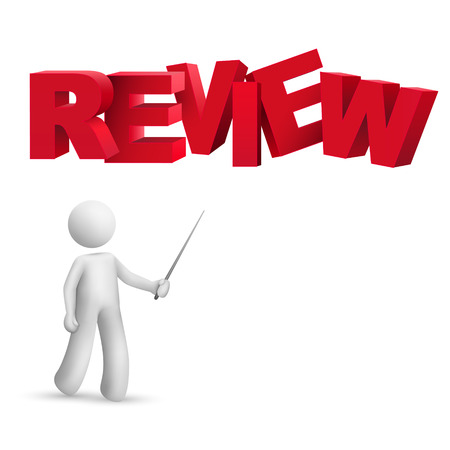 assessing: 3d person pointing at a word  review  isolated white background