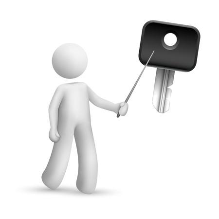 gatillo: Persona 3d que señala en un fondo blanco aislado llave del coche
