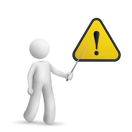 hazard damage: 3d person pointing at a warning sign isolated white background