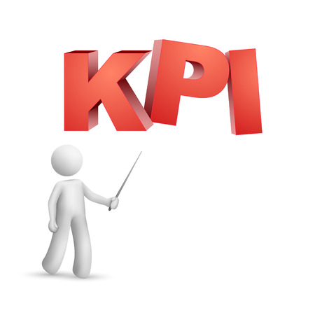push type: 3d person pointing at a word  KPI   Key Performance Indicator   isolated white background