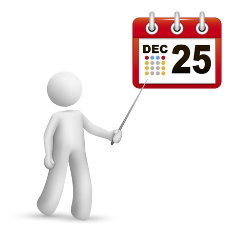 3d person pointing at a calendar with a stick isolated white background Vector