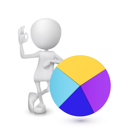 white person: 3d man showing okay hand sign with the pie chart Illustration