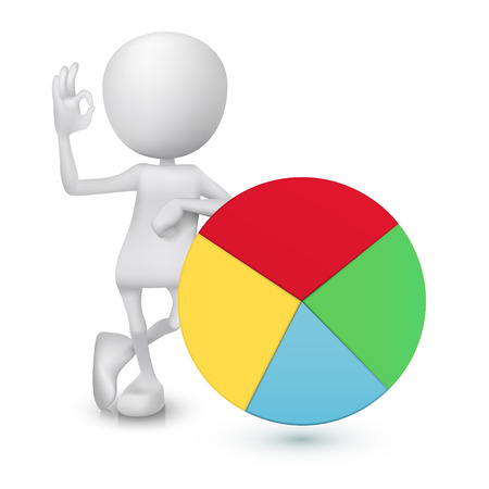 okay: 3d man showing okay hand sign with the pie chart Illustration