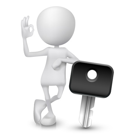 3d man showing okay hand sign with a car key Vector