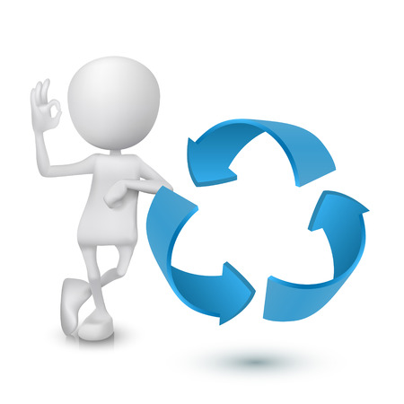 3d man showing okay hand sign with the recycling symbol Vector