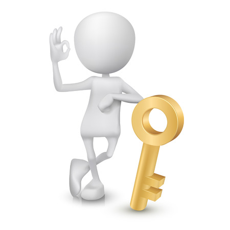 golden key: 3d man showing okay hand sign with a golden key
