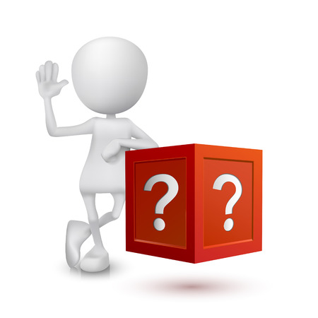 shopping questions: 3d person with the question box Illustration